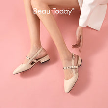 Load image into Gallery viewer, BeauToday Sandals Women Genuine Cow Leather Slingback Buckle Strap Round Toe Mid Heel Summer Ladies Shallow Shoes Handmade 31097