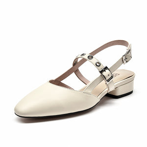 BeauToday Sandals Women Genuine Cow Leather Slingback Buckle Strap Round Toe Mid Heel Summer Ladies Shallow Shoes Handmade 31097