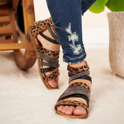 Women Sandals Summer 2020 Leopard Flip Flops Gladiator Comfortable Woman Zip Female Beach Shoes Casual Footwear Plus Size 35-43