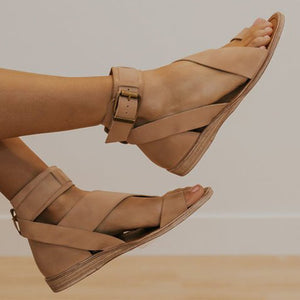 Women Sandals Open Buckle Strap Toe Summer Beach Gladiator Flats Clip Toe Casual Shoes Woman PU Fashion Mujer Sapato Plus Size