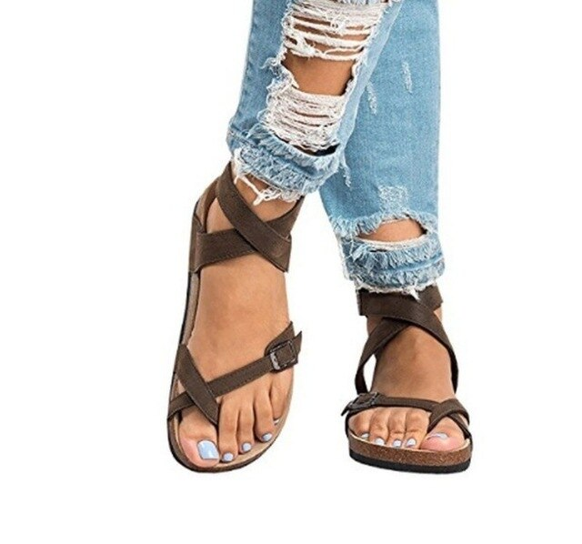 2020 New Summer Sandals Women Flat Ladies Comfortable Women's Summer Open Toe Comfy Sandals Super Soft Premium Orthopedic shoes