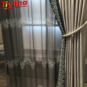 French Luxury Embroidery Sequins Tulle Curtains for Living Room Pearls sequins Curtains Yarn for Bedroom Customized X-M232#30