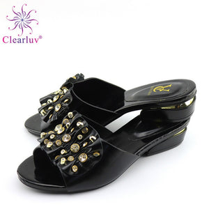 Newest African Women Shoes without bag set wedding with stripes Italian shoes possible matching bag ladies party shoes black