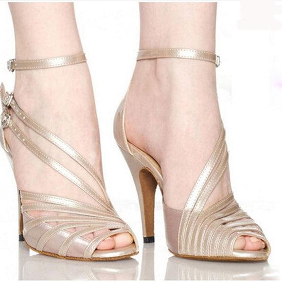 Women Latin Ballroom dance shoes Female salsa sandal Soft Sole Kizomba samba tango dance shoes High heels 6/7.5/8.5cm VA301132