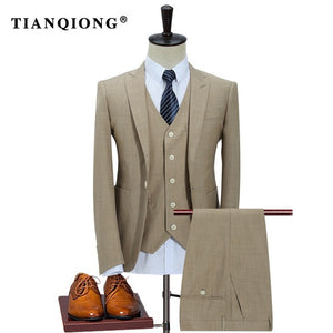 TIAN QIONG 100% Polyester Suits Men 2018 Slim Fit 3 Piece Business Wedding Suits Men Khaki Tuxedo Jacket Brand Mens Formal Suit
