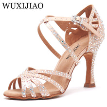 Load image into Gallery viewer, WUXIJIAO Women Party Dance Shoes  Satin Shining rhinestones Soft Bottom Latin Dance Shoes Woman Salsa Dance Shoes heel5CM-10CM