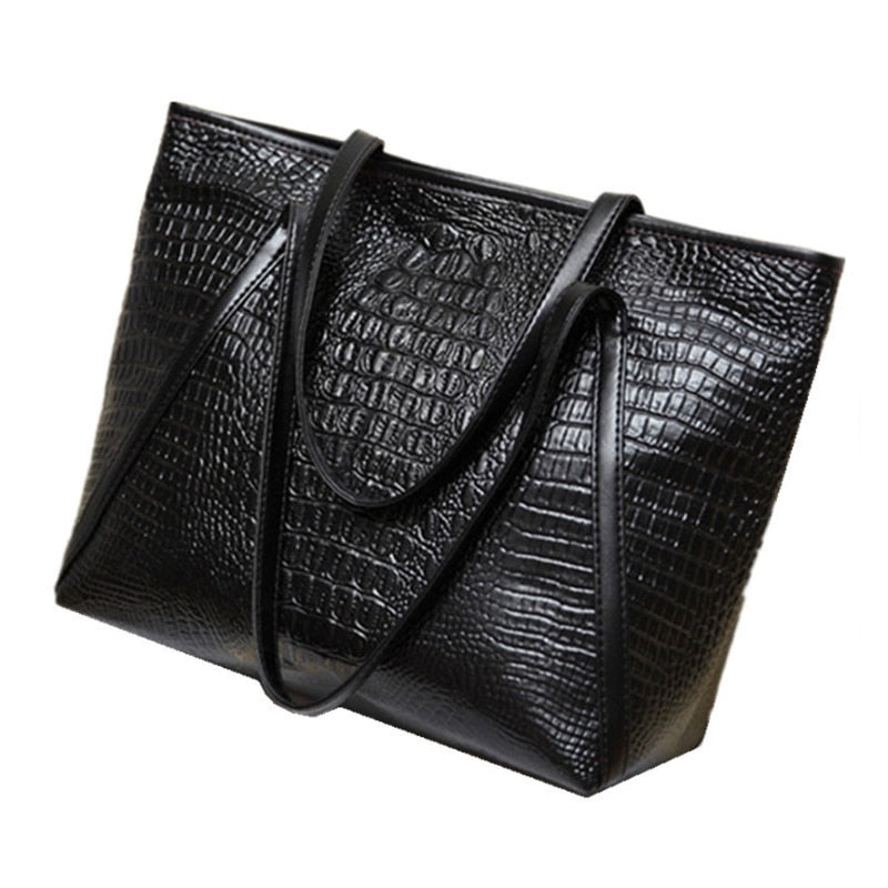 LJL New fashion casual glossy alligator totes large capacity ladies simple shopping handbag PU leather shoulder bags(Black)