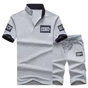 Sportsuits Set Men 2018 Brand Fitness Suits Summer 2PC Top Short Set Mens Stand Collar Fashion 2 Pieces T-shirt Shorts Tracksuit