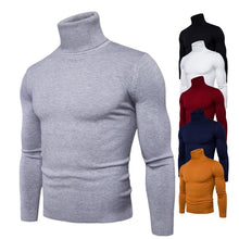 Load image into Gallery viewer, Spring Autumn New Solid Colors Pull Homme Turtleneck Sweater Dress High Elasticity Slim Pullover Men Knitwear Men Clothing 3XL