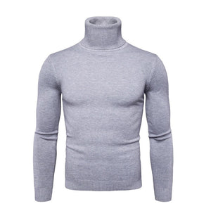 Spring Autumn New Solid Colors Pull Homme Turtleneck Sweater Dress High Elasticity Slim Pullover Men Knitwear Men Clothing 3XL