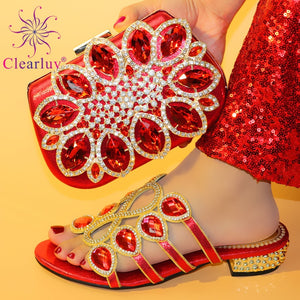 New Arrival Italian Designer Shoes and Bag Matching Set Decorated with Rhinestone African Shoe and Bag Set Nigerian Wedding Shoe