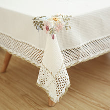 Load image into Gallery viewer, Europe Flowers Tablecloth White Hollow Lace Cotton Linen Dustproof Table cloth Wedding Banquet TV Cabinet Cover Cloth