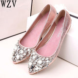 spring summer Women Rhinestone Flats Shoes Pointed Toe Ladise shoes Casual Low Heel Flat Shoes woman zapatos mujer E523