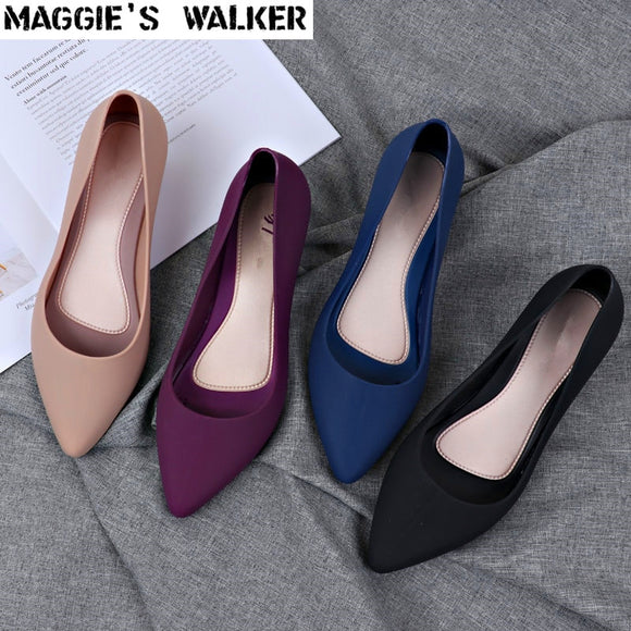 Maggie's Walker Beach Shoes Women Jelly Sandals Summer Pointed-toe Slip-on Resin Wedges Sandals Rain Shoes Size 36~40