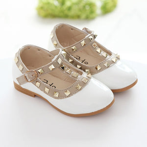 KIDS Autumn girls brand for baby stud shoes children nude sandal toddler summer shoe black white flats party shoe