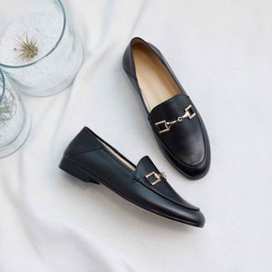 Genuine Leather Flats Shoes Women Black Flats Woman Metal Decoration Shoes Round Toe Brown Loafers Slip on Casual Shoes Women