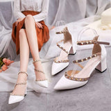 Pumps 2019 Women's Shoes Summer Fashion Female Sandals Rivet Metal Decoration Pu Leather Style Women High Heels Zapatos De Mujer