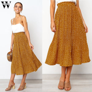Womail Skirt Women Summer 2019 New Fashion Casual Elastic Waist Plus Size Skirt Party Ankle-Length Skirt NEW 2019 dropship M27