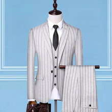 Load image into Gallery viewer, Men's Suit 2019 New Fashion Groom Wedding Dress High-end Party Business Striped Slim Suit 3 Piece Set (coat+ Vest+ Pants)