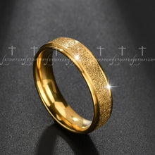 Load image into Gallery viewer, Letdiffery Bling Cubic  Zircon Matte Wedding Rings for Couple Gold Titanium Stainless Steel Romantic Anniversary Women Jewelry