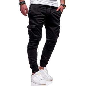 Men's Vogue Slim Fit Ankle-tied Pencil Pants Joggers Trousers Male Casaul Drawstring Side Pockets Harem Pants Solid Sportswear