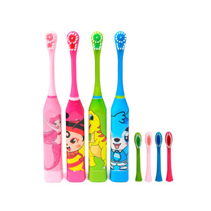 Protable Children Electric Toothbrush 2PCS Replaceable Head Acoustic Wave Electric Brush Cartoon Soft Hair Kids Tooth Brush