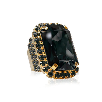 Caroline Svedbom - Alexa Cocktail Ring Black Diamond + Jet Gold
