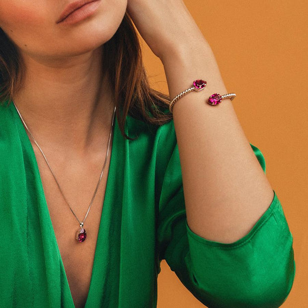 Mini Drop Necklace / Fuchsia