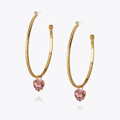 18K Gold plated heart loop earrings with swarovski crystals