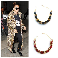 443b3ee37215b Nicole Richie in a black woven leather and chain choker. Melissa Fortune
