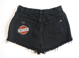 Black High Waisted Vintage Denim Shorts With Spikes Back