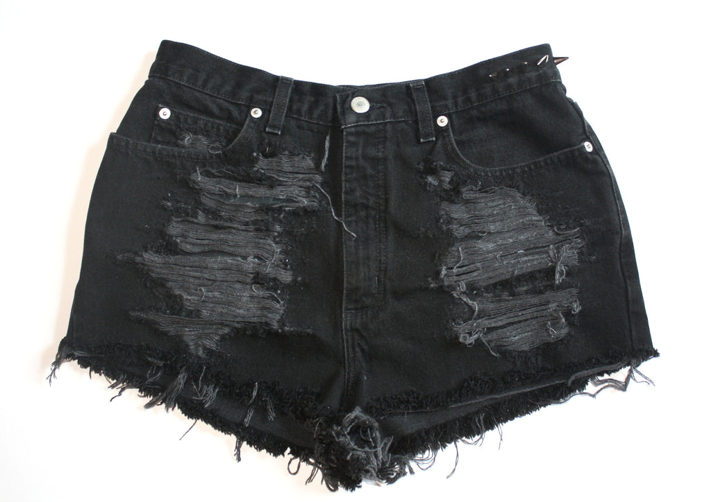 Black High Waisted Vintage Denim Shorts With Spikes Front
