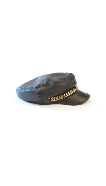 Black Leather Baker Boy Hat