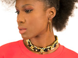 Black Studded Leather and Chain Choker Necklace