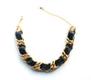 black woven leather and chain choker necklace