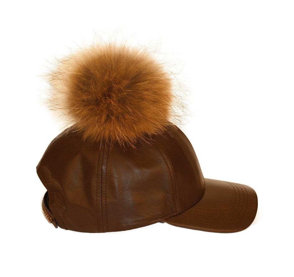 Brown leather fur pom cap