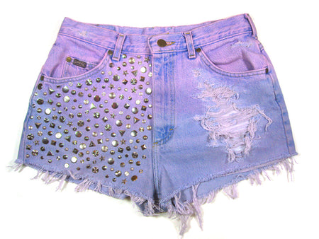 Black High Waisted Vintage Denim Shorts With Spikes