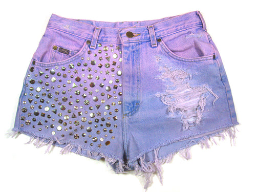 dip dyed studded high waisted shorts