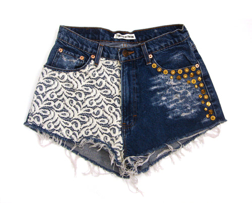 gold studded lace high waisted shorts
