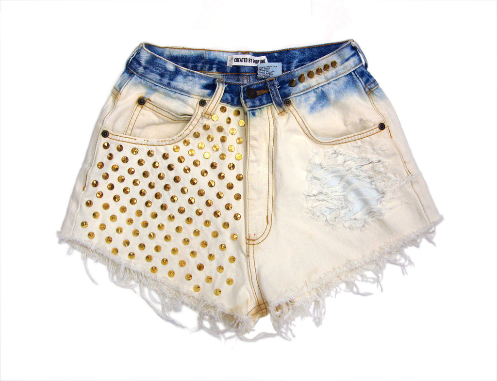 bleached gold studded and spiked high waisted shorts
