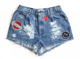 Genuine Asshole Patch High Waisted Vintage Shorts Front