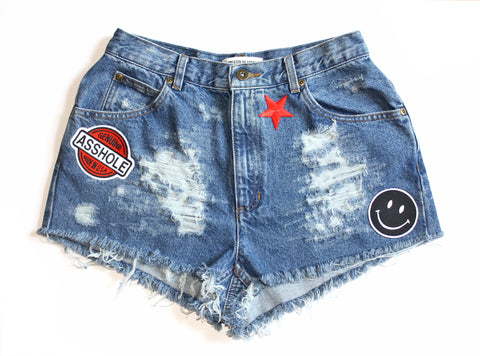 Shit Face Patch Vintage Denim Shorts
