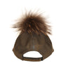 Grey Leather Fur Pom Cap