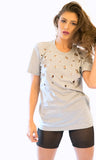 Grey Heather Grommet Tshirt