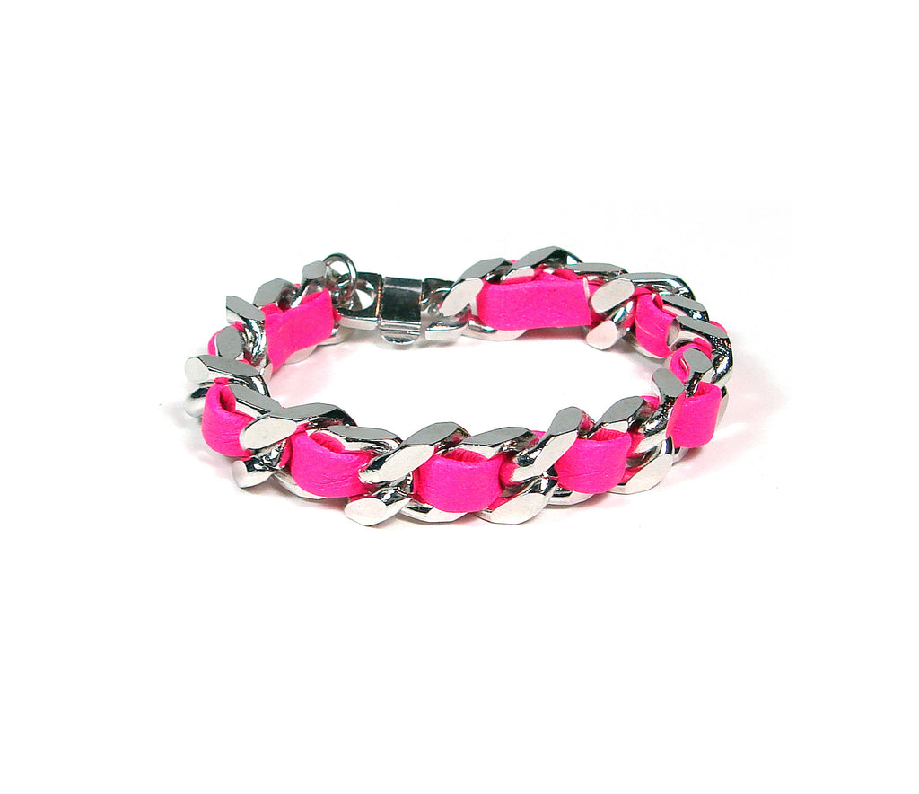 hot pink leather woven chain bracelet