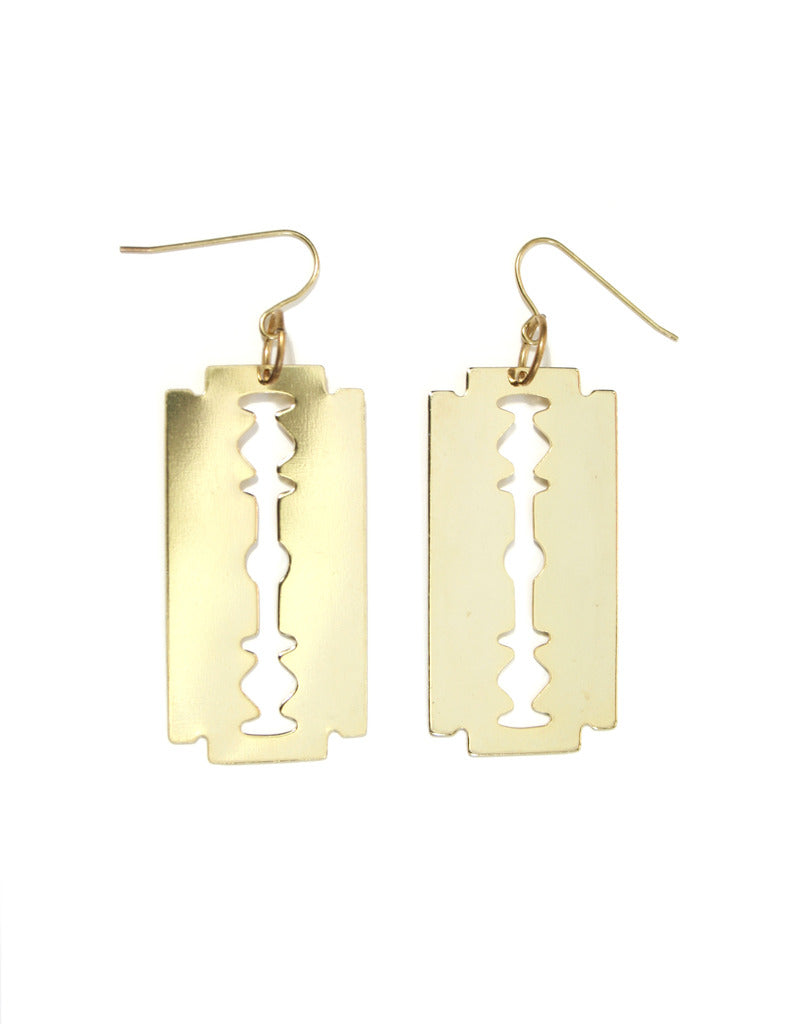 gold razor blade earrings