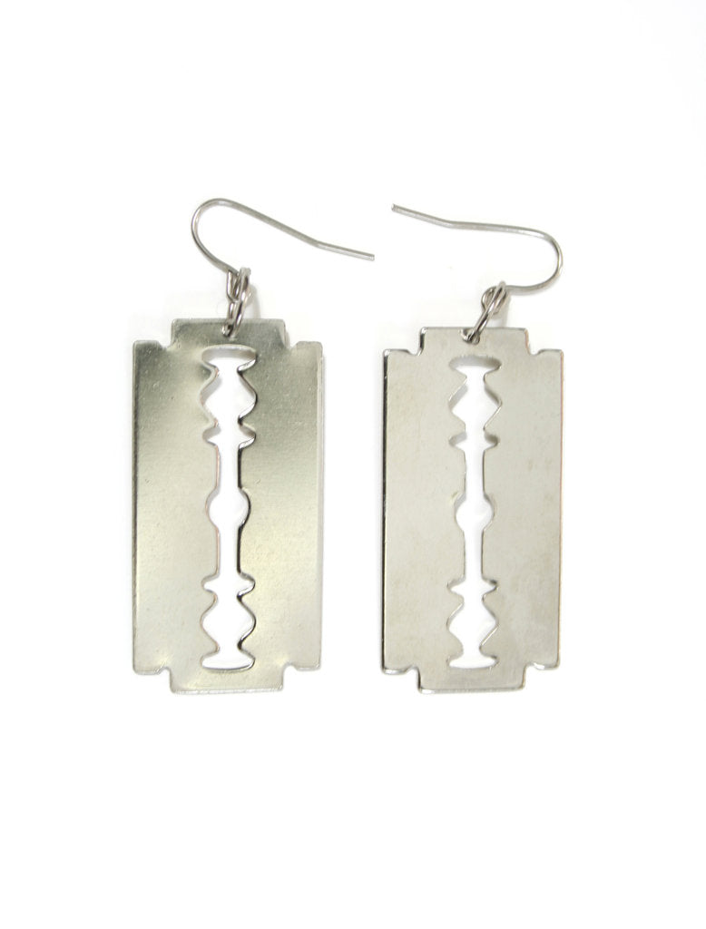 silver razor blade earrings
