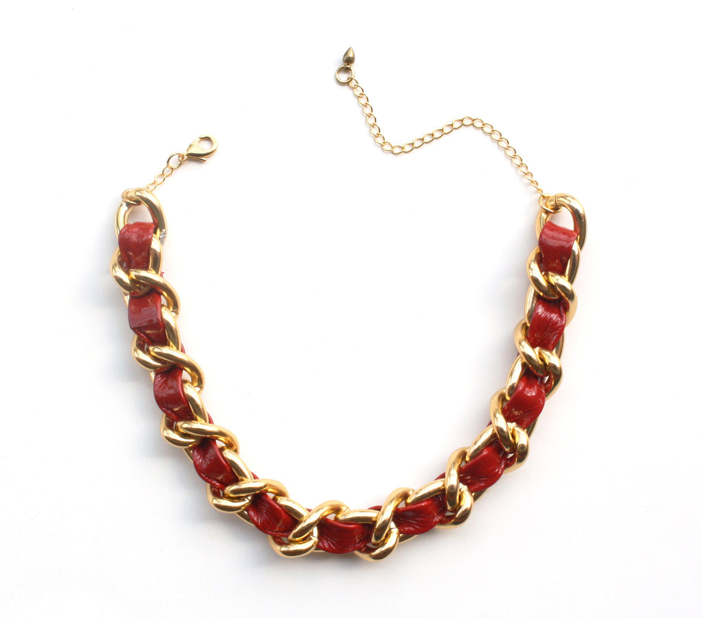 Red patent leather and chain choker