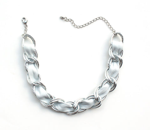 Hologram leather and chain choker necklace