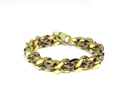 Black Leather Woven Gold Chain Bracelet